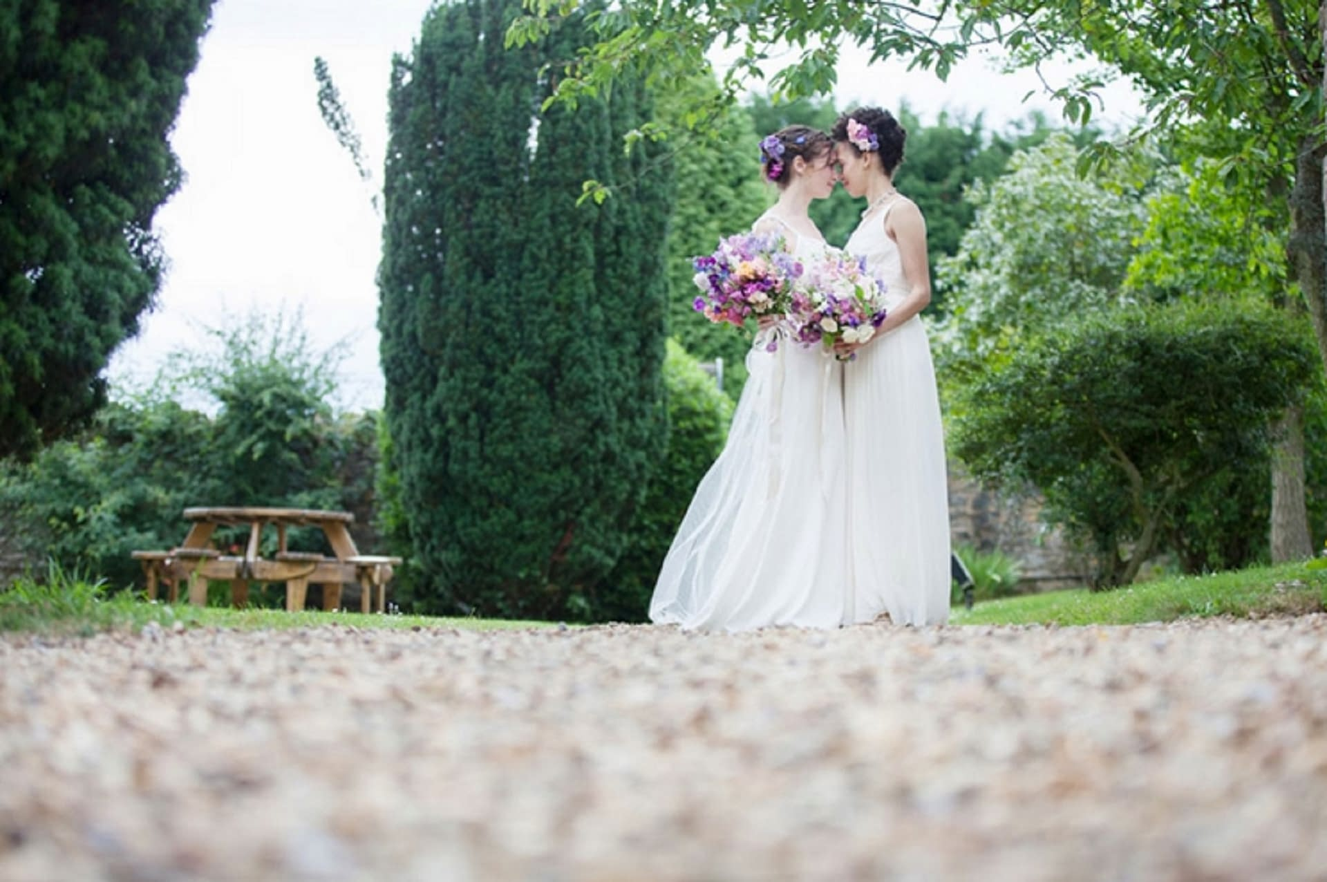 same sex Wedding couple at Notley Abbey, UK wedding venue