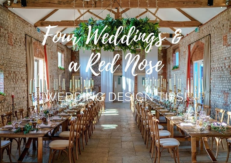 four weddings and a red nose wedding design tips blog graphic for Stressfree the Venue Transformers