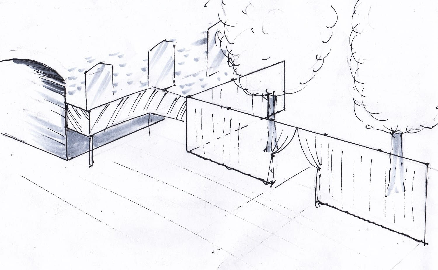 Sketch showing partition drape at Devonshire Terrace