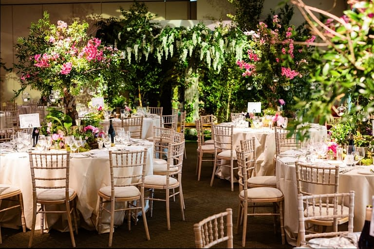 Large artificial Wisteria tree and decor for a Midsummer nights dream themed party at The Hurlingham Club, London event venue