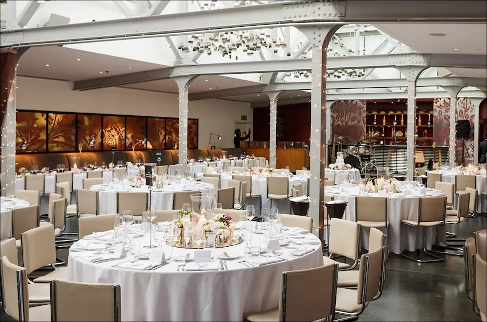 An un-decorated Bluebird Restaurant in Chelsea, London awaiting event planning experts for a private event