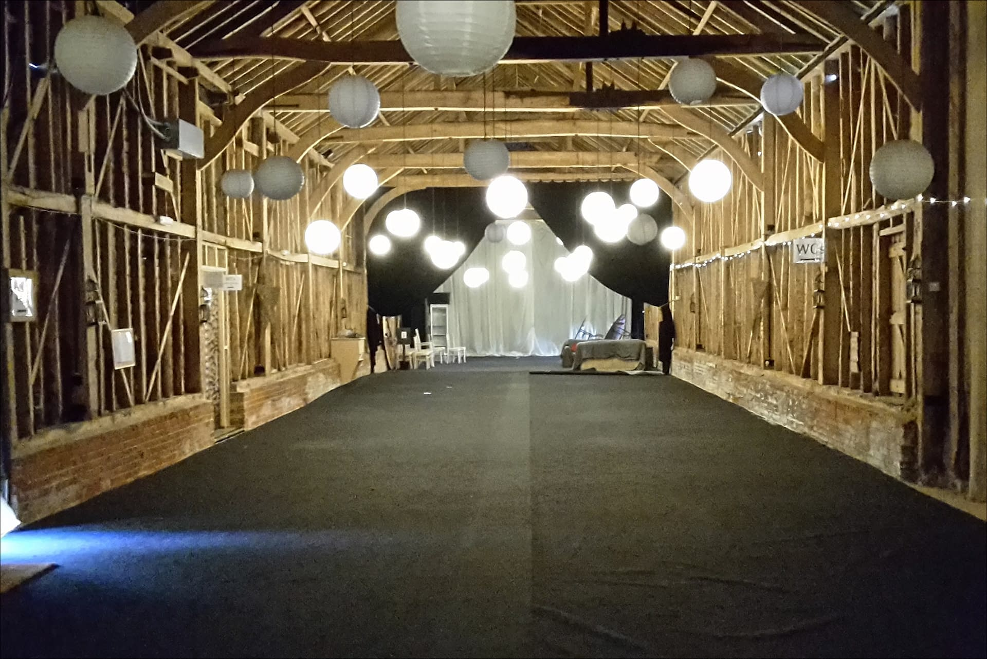 Childerley Barns, an empty UK event venue, awaiting decoration specialists