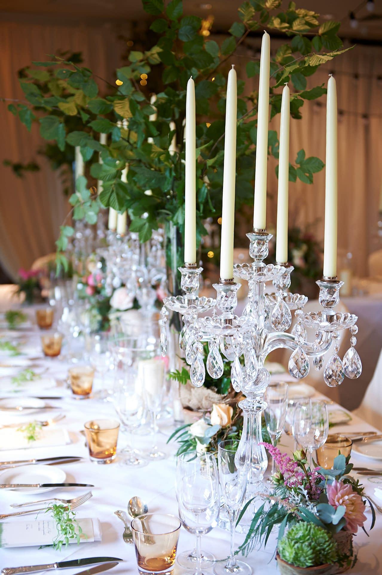 Ivory wall draping, overhead festoon lighting, birch trees with fairy lights at Chewton Glen, Hampshire wedding venue