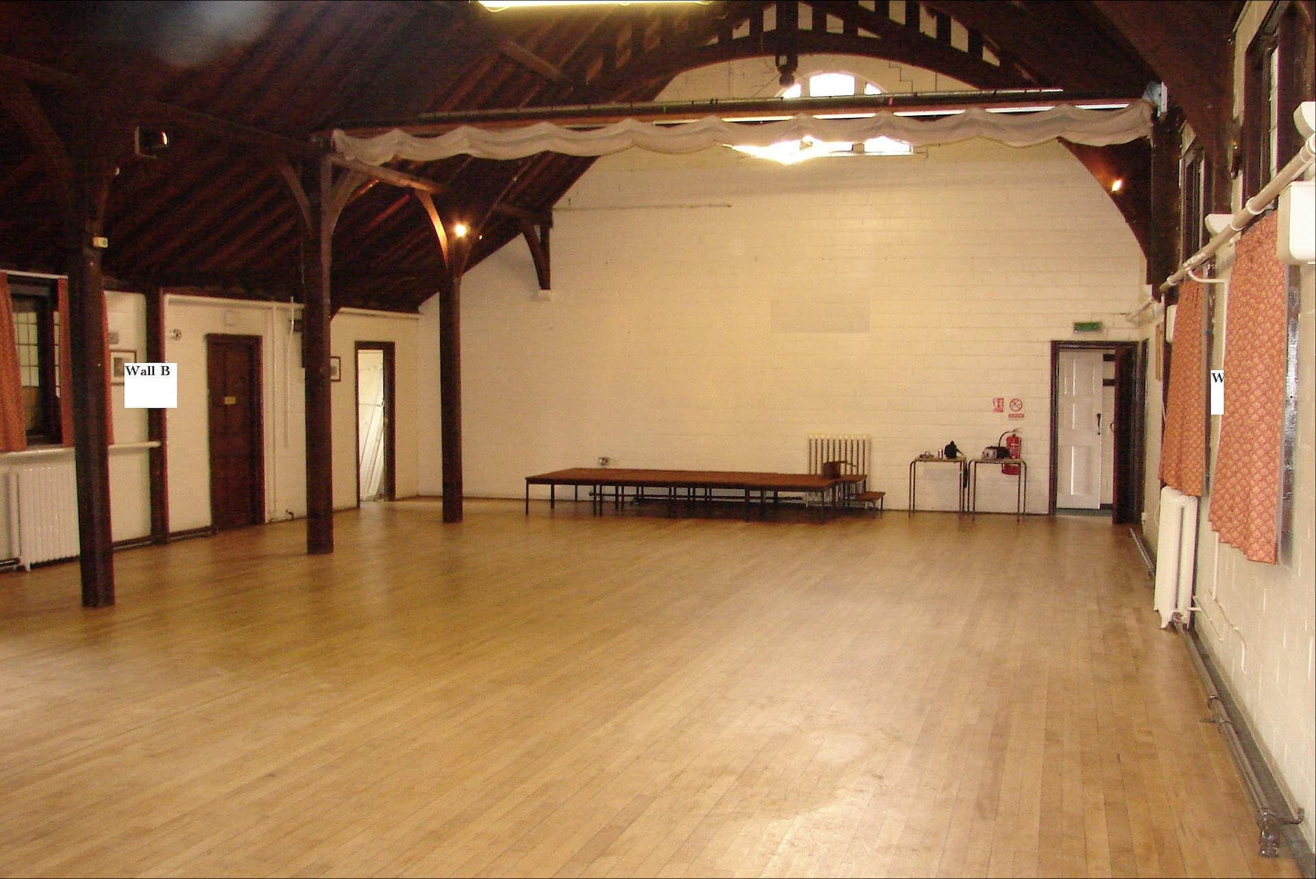 An empty and un-decorated Worfield Village Hall UK wedding venue in Shropshire awaiting event planners