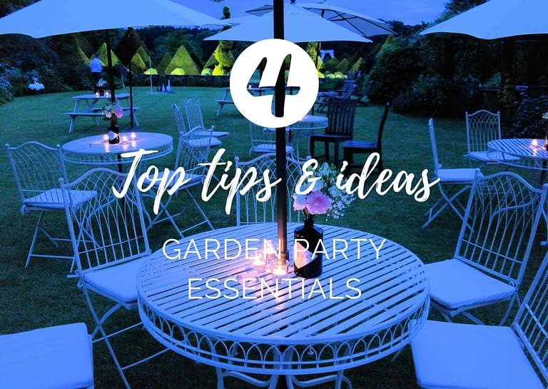 4 top tips and ideas garden party essentials blog graphic for Stressfree the Venue Transformers event design and decor est 1995
